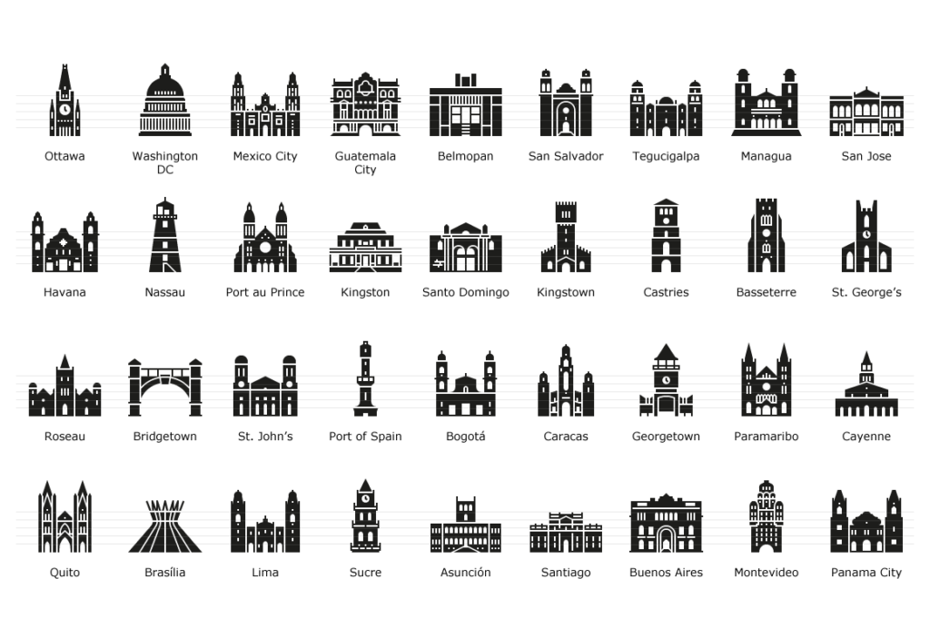 American Capital Landmarks - Glyph Icon Set