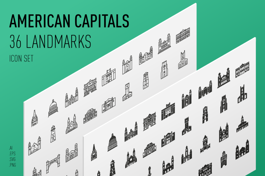 South and North American Capitals - Landmark Icons