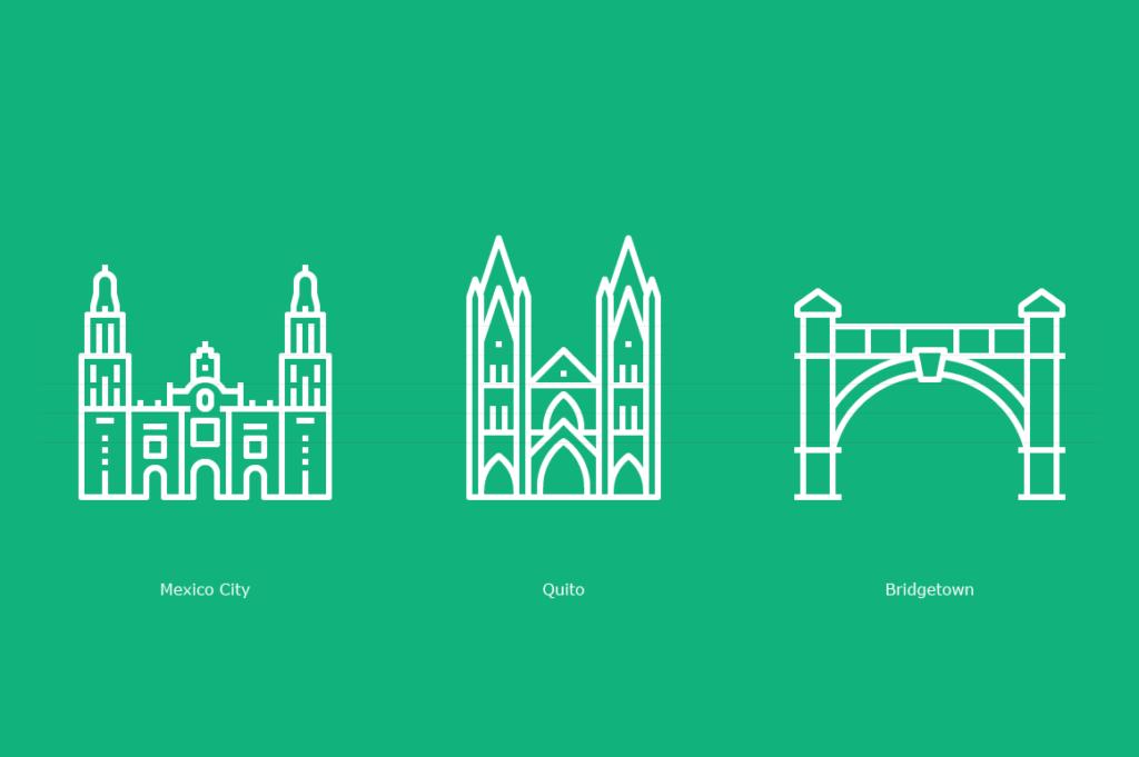 Mexico City – Mexico: Metropolitan Cathedral, Quito – Ecuador: Basilica of the National Vow, Bridgetown – Barbados: Chamberlain Bridge