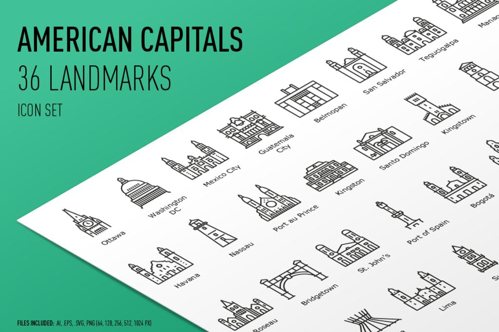 American Capital Landmarks - Icon Set
