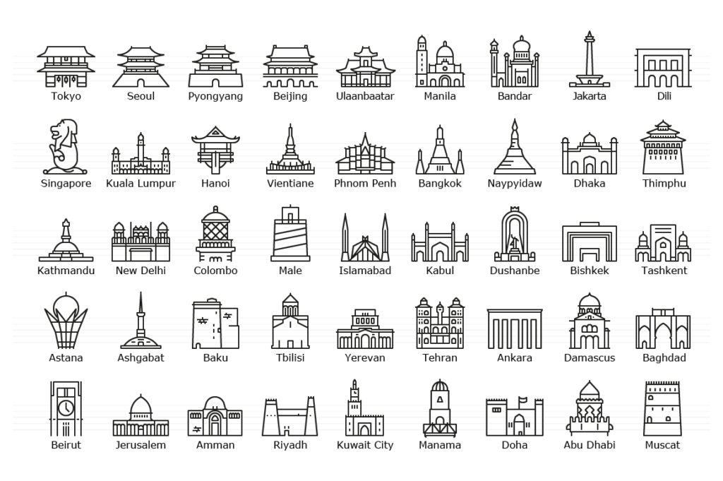 Asian Capitals - Line Icon Set