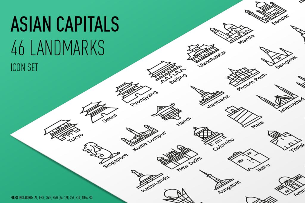 Asian Capital Landmarks - Outline Icon Set