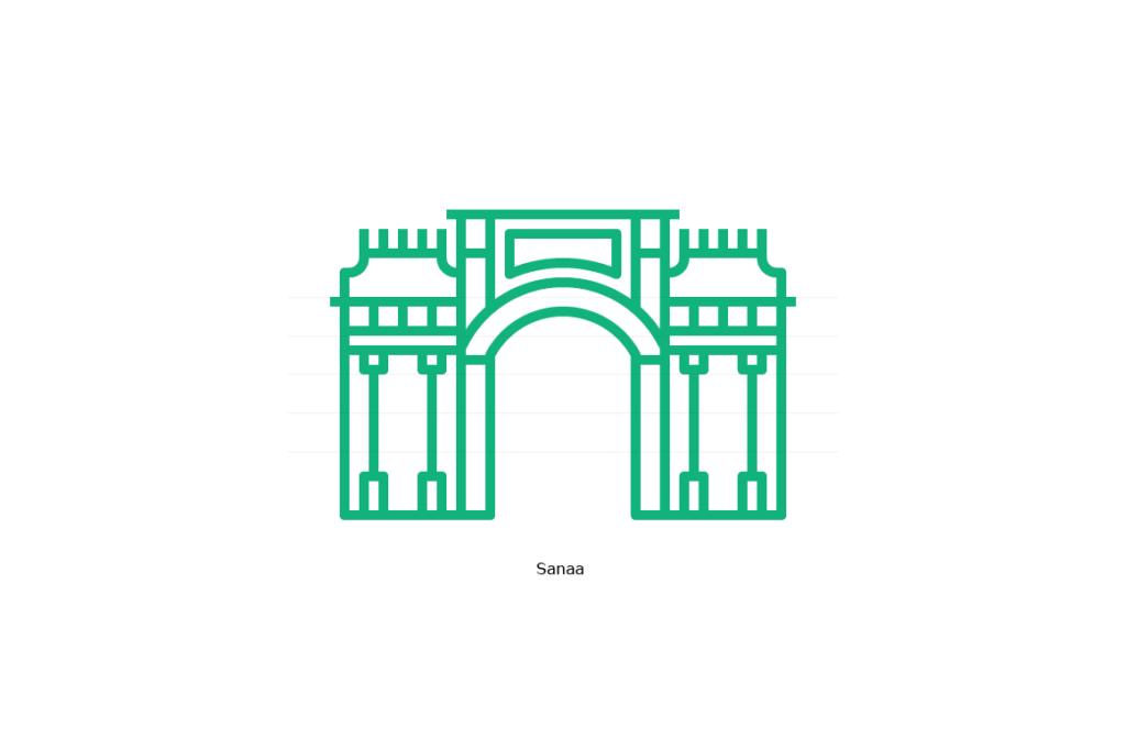 Yemen Gate, Sanaa - Line Icon