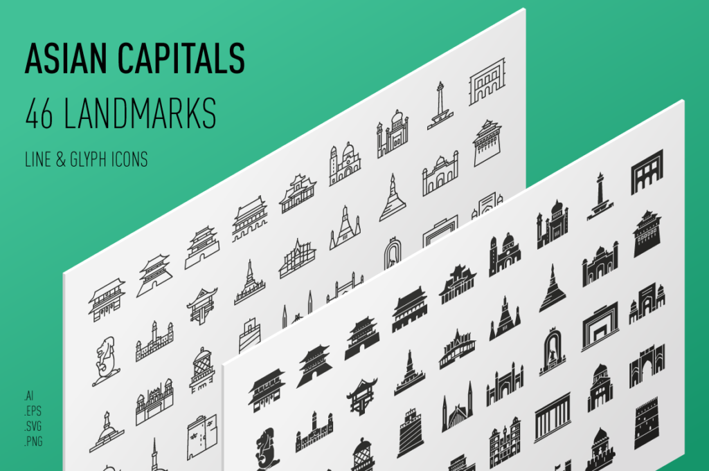 Asian Capitals - Landmark Icon Set