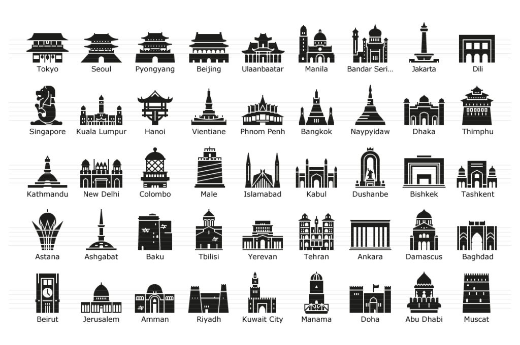 Asian Capitals - Glyph Landmark Icons