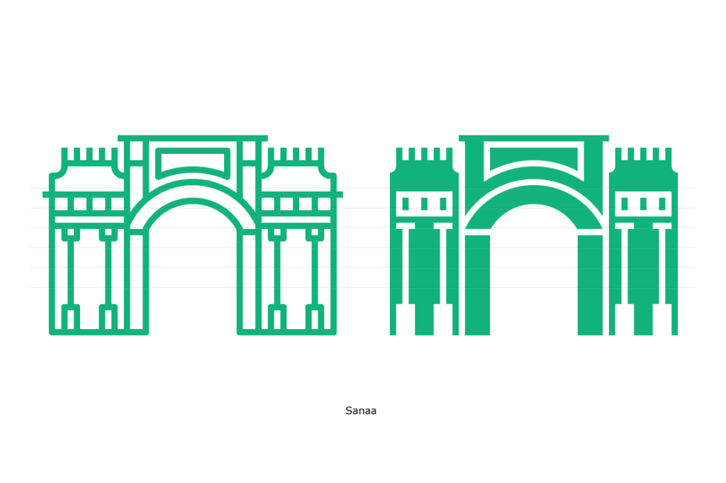 Yemen Gate, Sanaa - Line and Glyph Icons