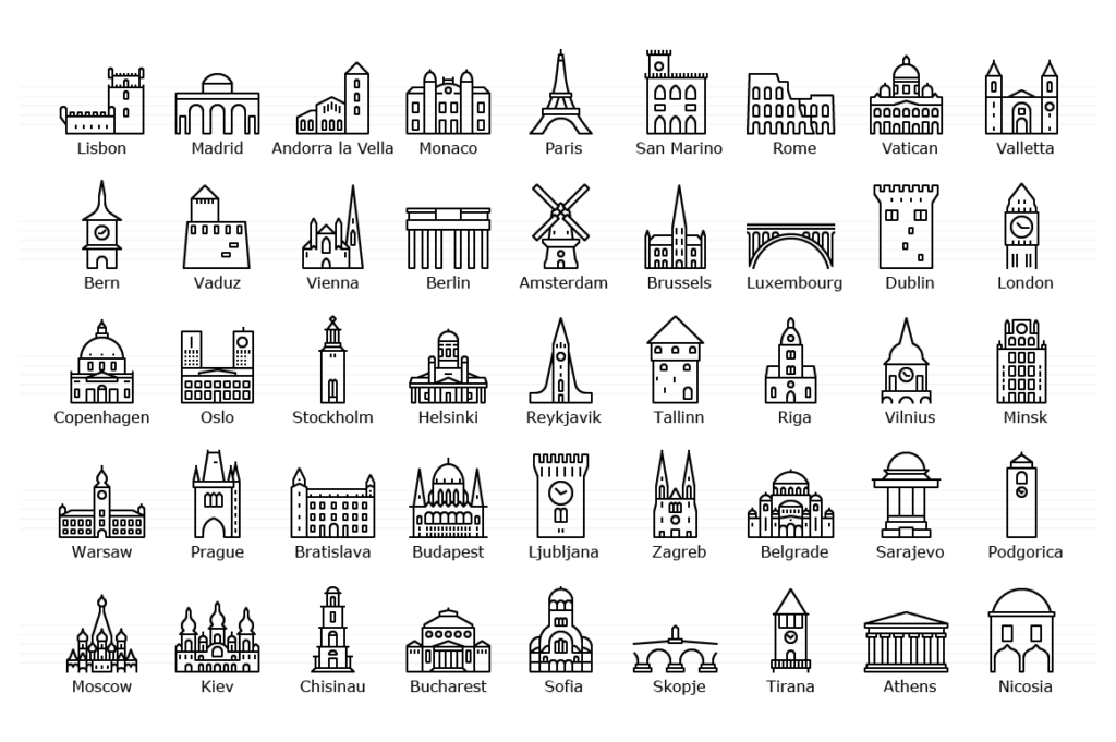 European Capitals - Icon Set