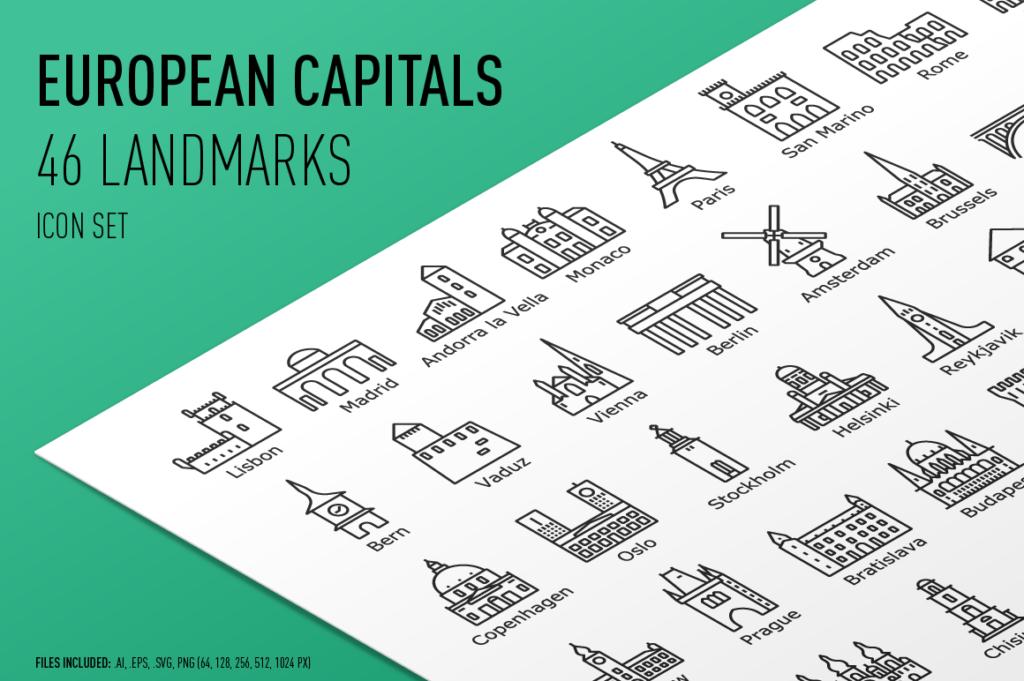 European Capital Landmarks - Icon Set