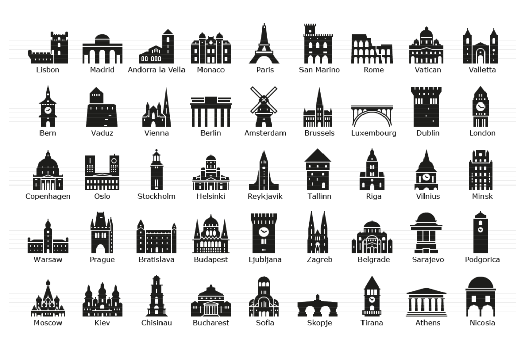 European Capitals - Glyph Landmark Icons