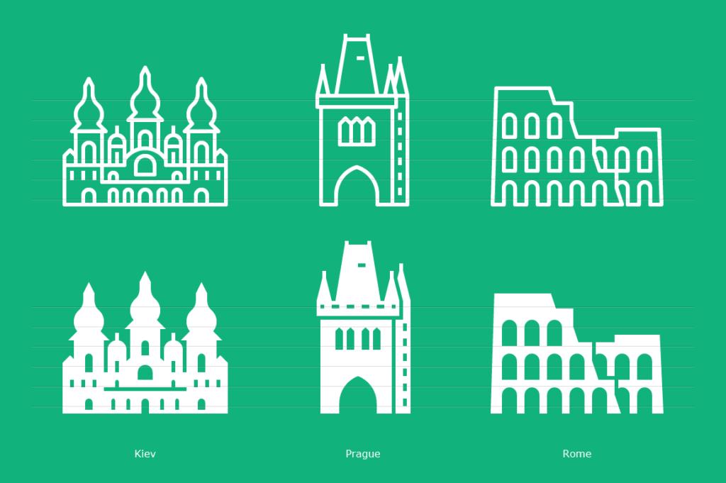 Kiev, Prague, Rome icons