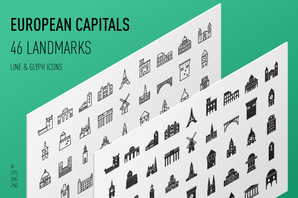 European Capitals - Landmark Icon Set
