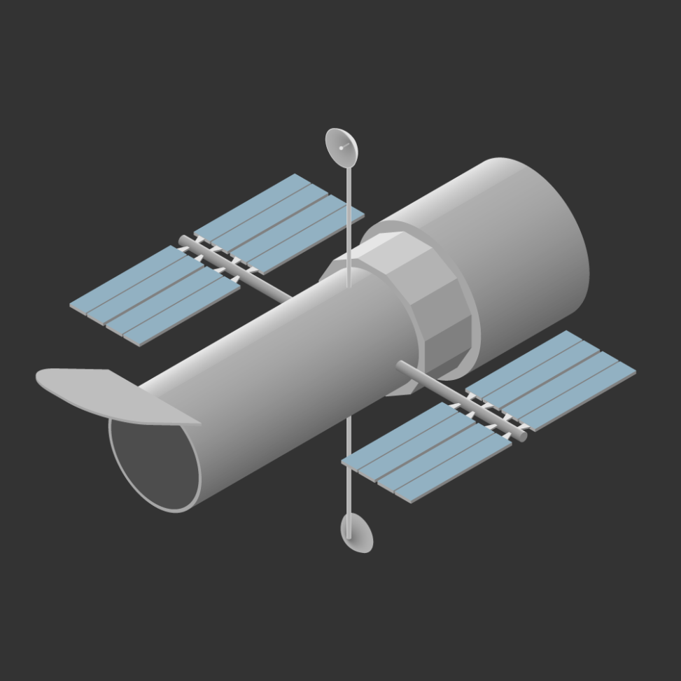 Isometric Illustration of the Hubble Space Telescope