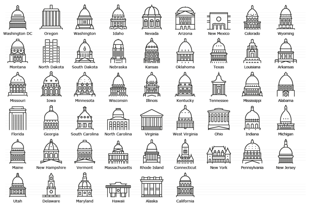 United States Capitols - Line Icon Set
