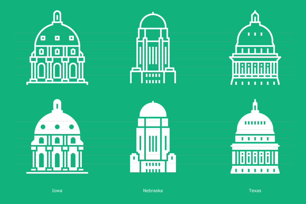 Iowa, Nebraska, Texas - capitol icons