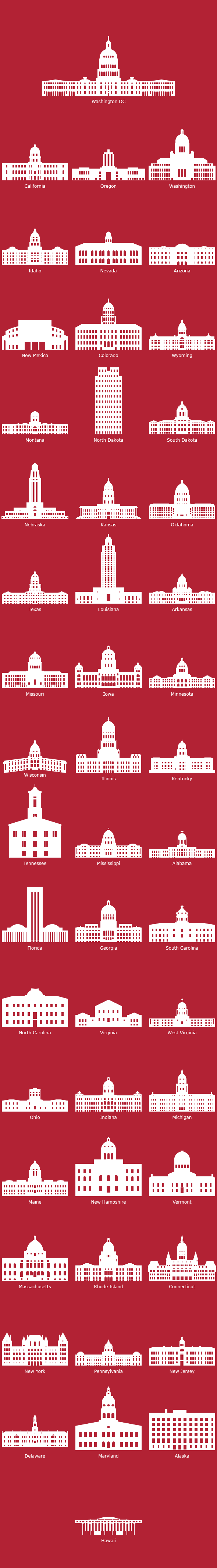 US State Capitol Buildings - silhouettes