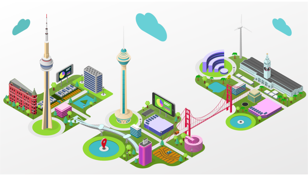 Isometric Tech Hub City Illustration