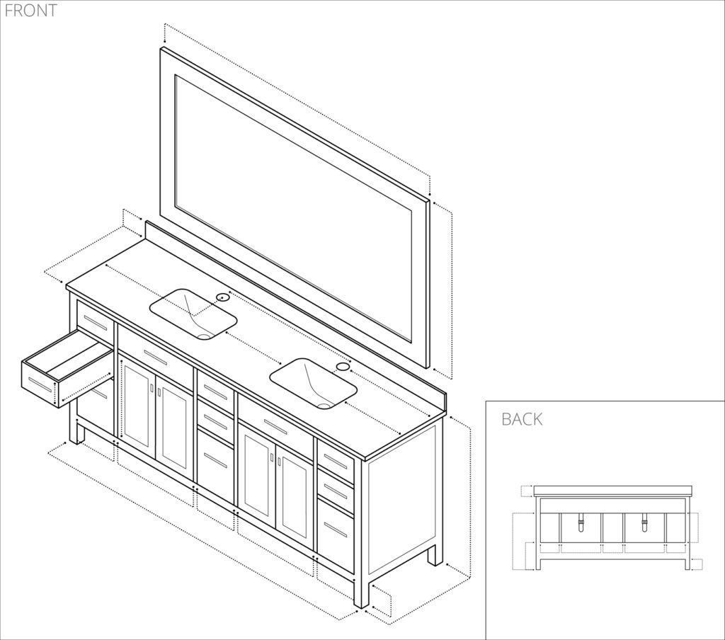 Illustration of a bathroom furniture specification
