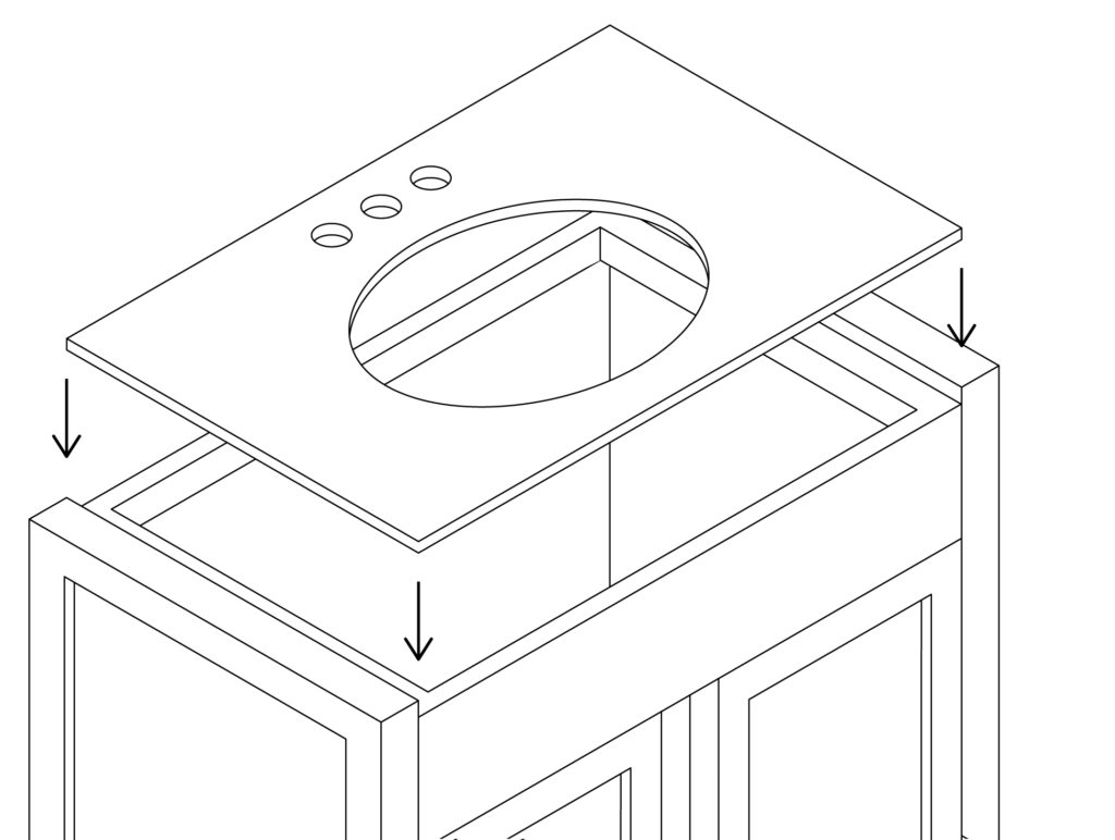 Assembly illustration of a bathroom furniture
