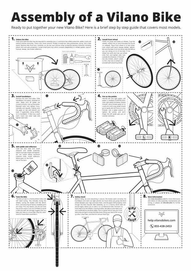 Instructional graphics for bike assembly