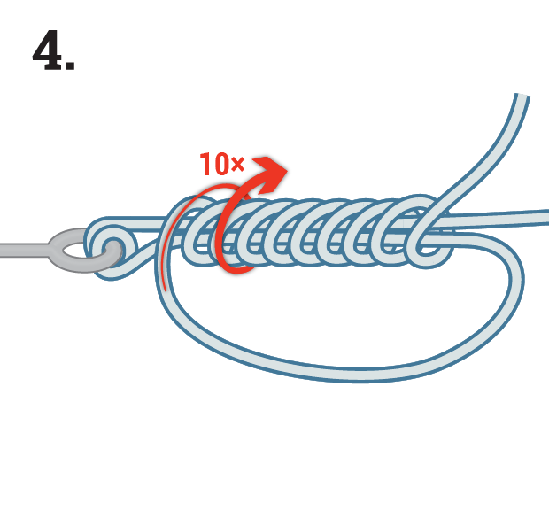 Knot tying step by step illustration.